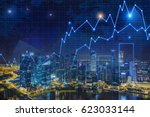 glowing graphs are drawn in the ... | Shutterstock . vector #623033144