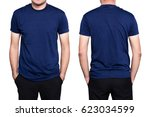 handsome  man in a blank blue t ... | Shutterstock . vector #623034599