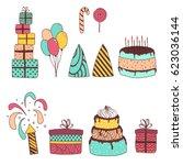 set of birthday celebration... | Shutterstock .eps vector #623036144