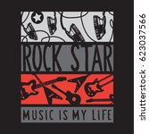rock star music guitar... | Shutterstock .eps vector #623037566