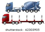 trucks with mixer and timber... | Shutterstock .eps vector #62303905
