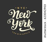 new york city typography with... | Shutterstock .eps vector #623042903