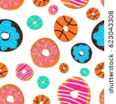 colorful glazed donuts icons... | Shutterstock .eps vector #623043308