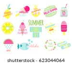 summer labels set with phrases... | Shutterstock .eps vector #623044064