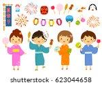 set for summer festival in... | Shutterstock .eps vector #623044658