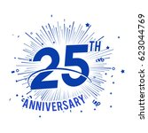 25th anniversary fireworks and... | Shutterstock .eps vector #623044769