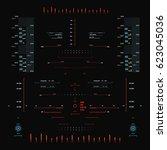 futuristic red virtual graphic... | Shutterstock .eps vector #623045036