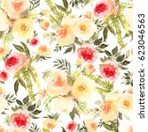 roses bouquets watercolor... | Shutterstock . vector #623046563