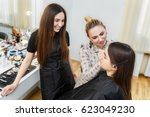 makeup lesson at beauty school. ... | Shutterstock . vector #623049230