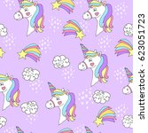 unicorn heads with rainbow tail ... | Shutterstock .eps vector #623051723
