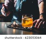 bright orange old fashioned... | Shutterstock . vector #623053064
