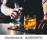 bright orange old fashioned... | Shutterstock . vector #623053070