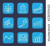 increase icon. set of 9 outline ... | Shutterstock .eps vector #623055410
