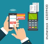 mobile pos payment concept.... | Shutterstock .eps vector #623059430