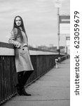 beautiful woman on the bridge.... | Shutterstock . vector #623059679