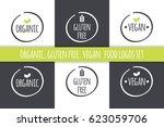 food logos set. organic gluten... | Shutterstock .eps vector #623059706