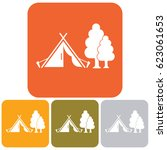 stylized icon of tourist tent.... | Shutterstock .eps vector #623061653