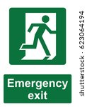 green fire evacuation sign... | Shutterstock .eps vector #623064194