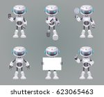 different poses robot... | Shutterstock .eps vector #623065463