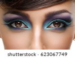 beautiful girl with bright... | Shutterstock . vector #623067749