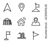 location icons set. set of 9... | Shutterstock .eps vector #623069618