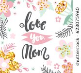mother day concept with hand... | Shutterstock .eps vector #623075960