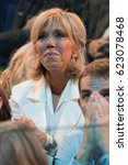 Small photo of PARIS, FRANCE - APRIL 17, 2017 : Brigitte Macron during, the great gathering of her Husband Emmanuel Macron, at Paris Bercy.