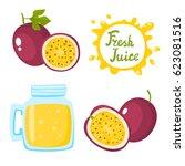 vector set of natural fresh... | Shutterstock .eps vector #623081516
