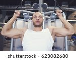 sports man with arms... | Shutterstock . vector #623082680