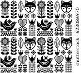 scandinavian seamless folk art...   Shutterstock .eps vector #623086970