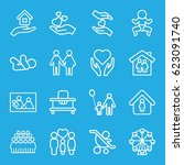 family icons set. set of 16... | Shutterstock .eps vector #623091740