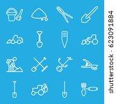 shovel icons set. set of 16... | Shutterstock .eps vector #623091884