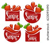 strawberry season  vector... | Shutterstock .eps vector #623095490