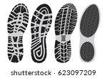 set  footprint sport shoes... | Shutterstock .eps vector #623097209