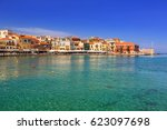 old venetian port of chania on... | Shutterstock . vector #623097698