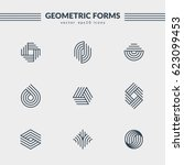 geometric logos set. futuristic ... | Shutterstock .eps vector #623099453
