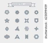 geometric logos set. futuristic ... | Shutterstock .eps vector #623099459