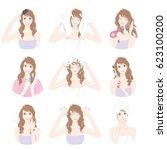 women who do hair care | Shutterstock .eps vector #623100200