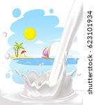 milk splash with painted... | Shutterstock .eps vector #623101934