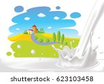 milk splash with painted... | Shutterstock .eps vector #623103458