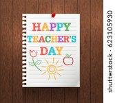 teacher's day background.... | Shutterstock .eps vector #623105930