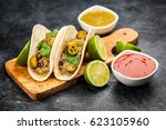 mexican tacos with beef   Shutterstock . vector #623105960