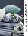 pillows comfort bed interior | Shutterstock . vector #623106359