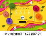 Stock vector summer sale background cut paper art style for banner poster promotion web site online shopping 623106404