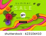 summer sale background cut... | Shutterstock .eps vector #623106410
