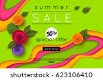 summer sale background cut... | Shutterstock .eps vector #623106410