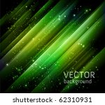 vector abstract green lights background - night starry sky and green aurora borealis - stock vector