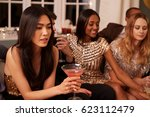 group of friends with drinks... | Shutterstock . vector #623112479