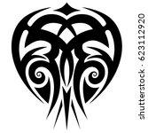 tattoo sketch tribal vector... | Shutterstock .eps vector #623112920