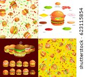 set of burger grilled beef and... | Shutterstock .eps vector #623115854